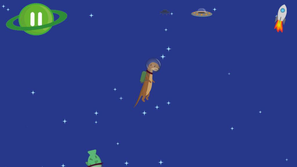 Zeichnung von einem Otter im Weltall