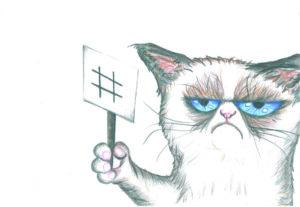 Zeichnung einer unzufriedenen Katze, die ein Schild hochhält