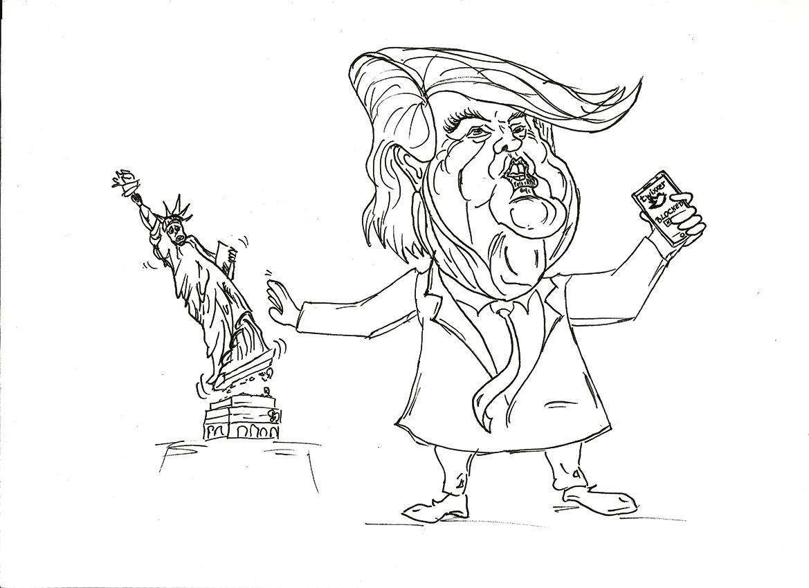 Zeichnung Donald Trum stößt Freiheitsstatue