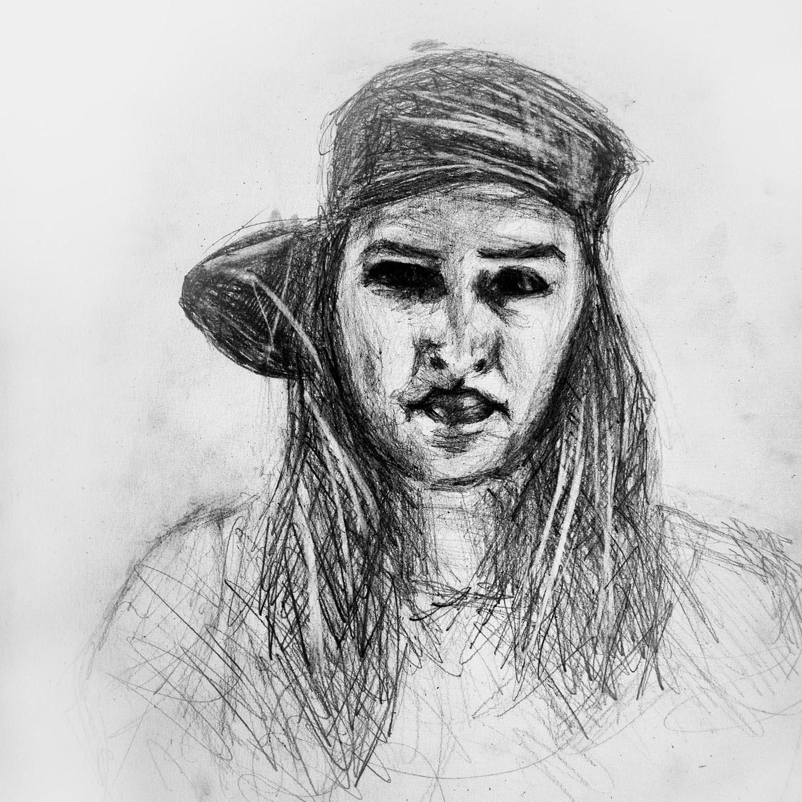 Zeichnung von junger Frau mit Kappe