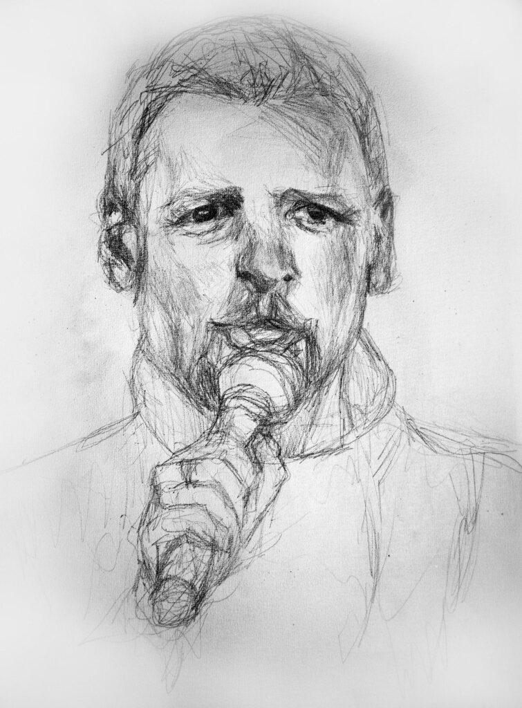 Zeichnung von Mann mit Mikrofon