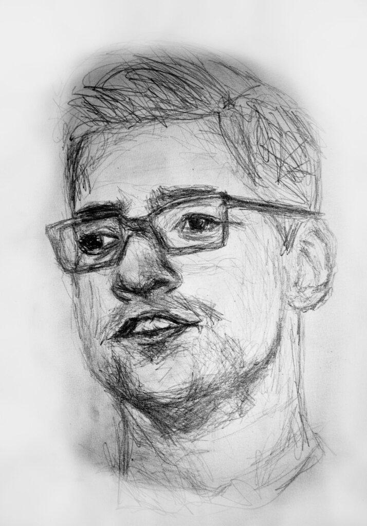 Zeichnung von jungen Mann mit Brille