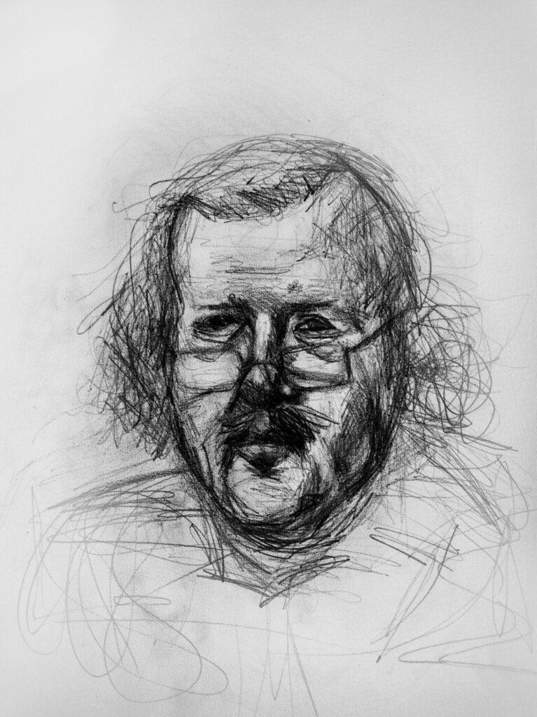 Zeichnung von Mann mit Bart und Brille