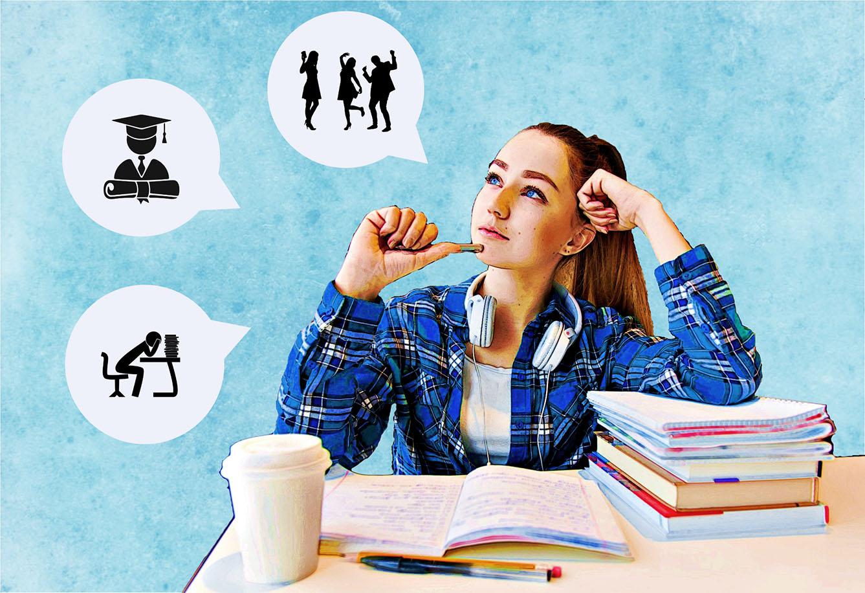 Zeichnung Studierender überlegt