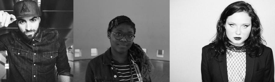 Collage von drei Personen in Schwarz-Weiß