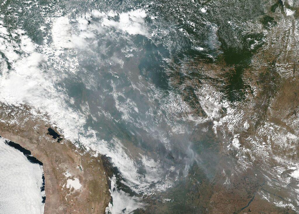 Satelitenbild Rauchwolken über Regenwald