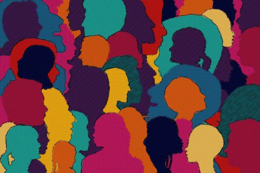 gezeichnete Köpfe von Menschen in verschiedenen Farben