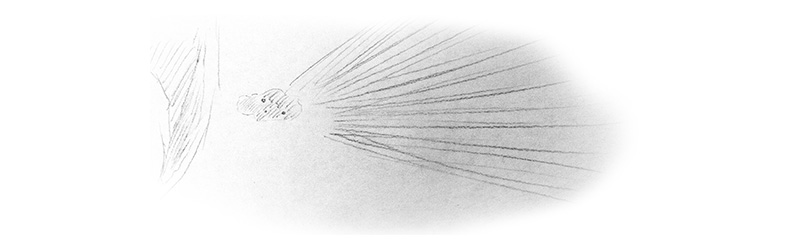 Zeichnung eines Asteroiden, welcher sich der Erde nähert
