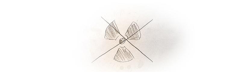 Zeichnung eines durchgestrichenen Symbols für Radioaktivität