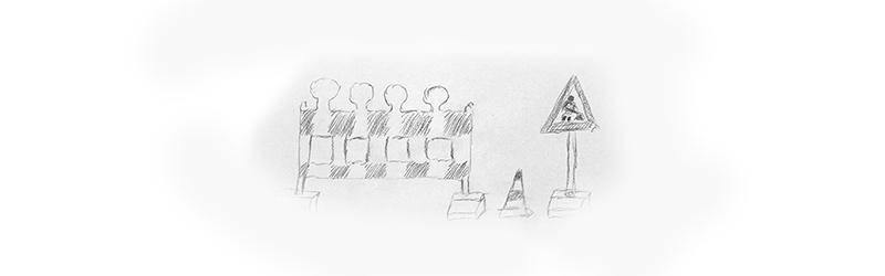 Zeichnung einer Baustelle