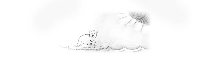 Zeichnung eines Eisbären auf einer Eisscholle mit einer Sonne in der Ecke