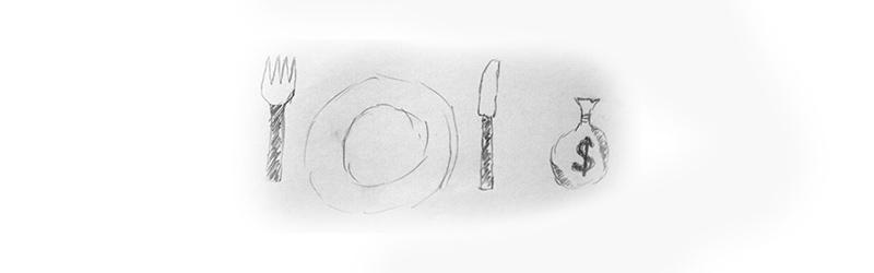 Zeichnung mit Teller, daneben Gabel und Messer und Sack mit Dollarzeichen