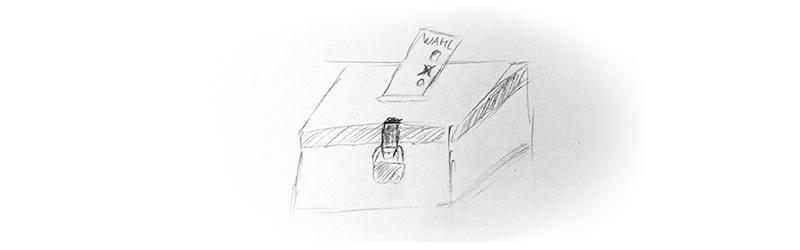 Zeichnung einer Wahlurne mit ausgefülltem Wahlzettel