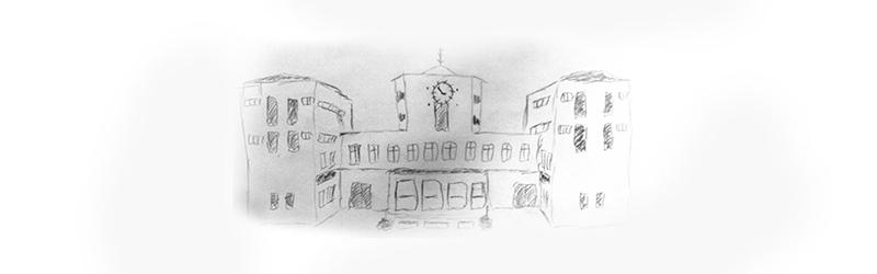 Zeichnung des Hauptgebäudes der Universität zu Köln