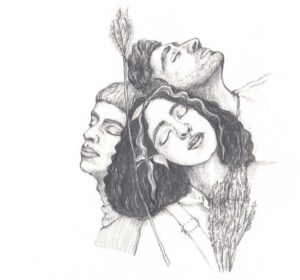 Zeichnung Köpfe zwei Jungs und ein Mädchen, die Köpfe aneinander halten mit Pflanzen