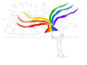 Zeichnung eines Menschen mit Regenbogen