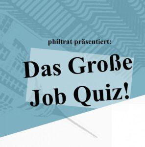 Blauer Hintergrund mit dem Schriftzug Das große Job Quiz